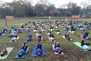 India Yoga in an open field